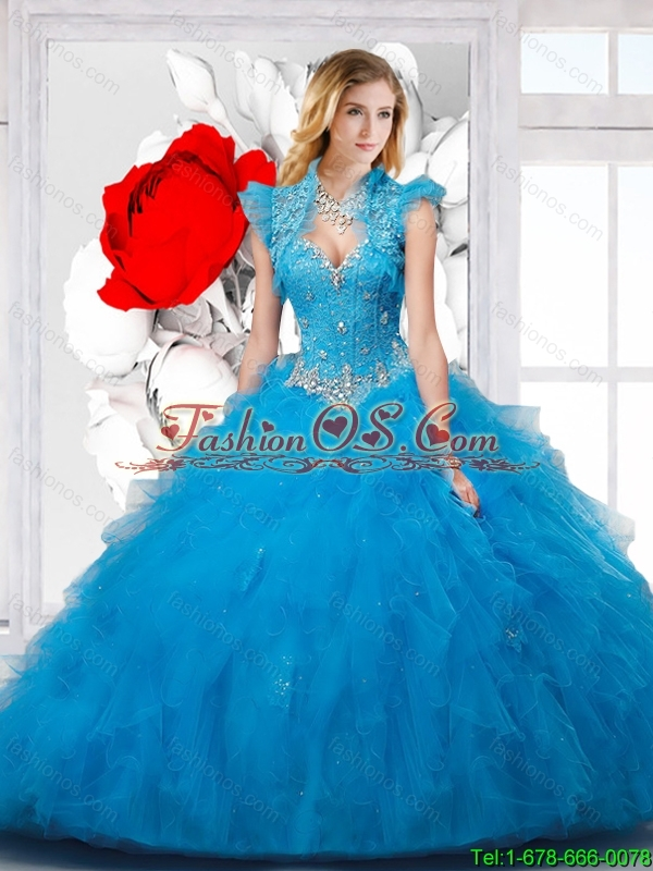 2016 Beautiful Sweetheart Sky Blue Sweet 16 Dresses with Appliques and Ruffles