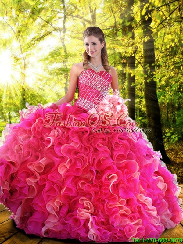 Luxurious Ball Gown Beading Fuchsia Quinceanera Dresses with Sweetheart