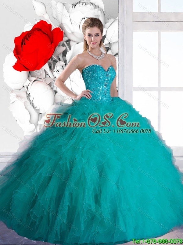 Beautiful Sweetheart Quinceanera Dresses with Beading and Ruffles in Teal for 2016