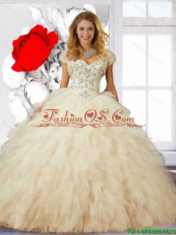 New Style Beaded and Ruffles Ball Gown Sweet 16 Dresses in Champagne