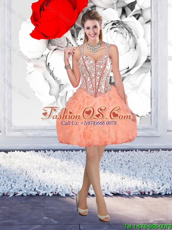 Sturning Straps and Beaded Quinceanera Dresses and Baby Pink Short Dama Dresses and Cute Orange Little Girl Dresses and Feminine Mini Length Prom Dresses