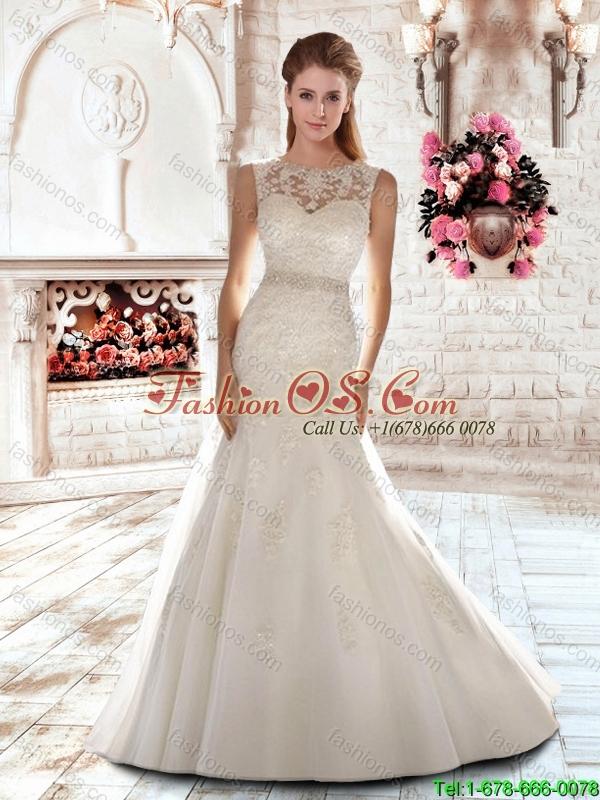Elegant New Style Mermaid Scoop Brush Train Beading Wedding Dresses for 2016