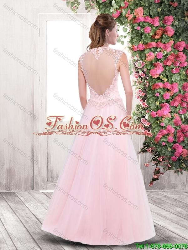 2016 Spring Elegant A Line High Neck Prom Dresses with Appliques