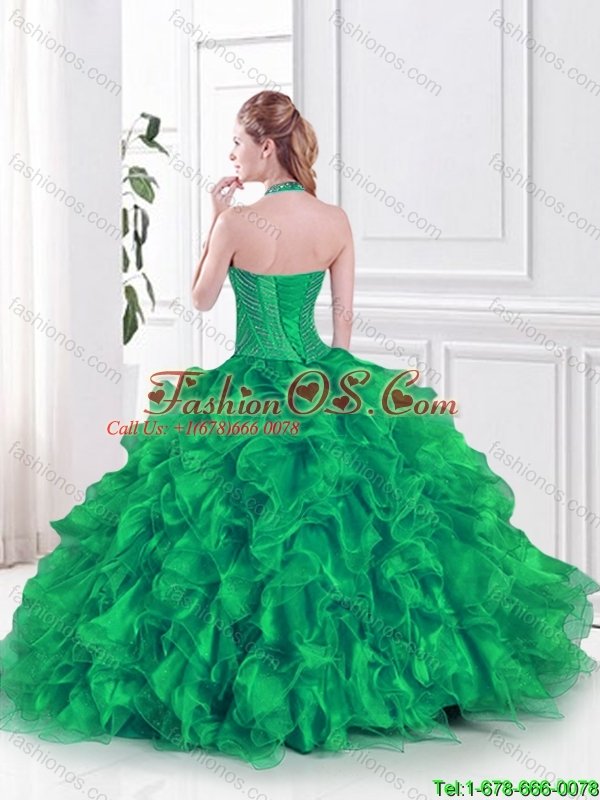 Latest Halter Top Quinceanera Dresses with Beading and Ruffles in green