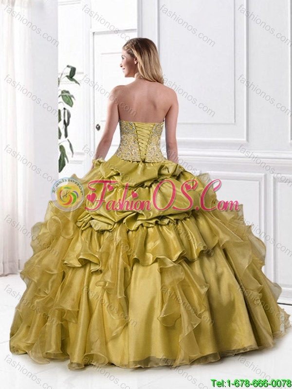 2016 Popular Appliques and Pick Ups Sweet 16 Gowns in Olive Green