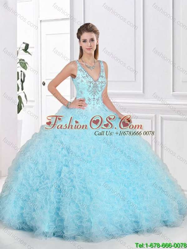 Latest 2016 Open Back Beaded Sweet 16 Gowns with Ruffles