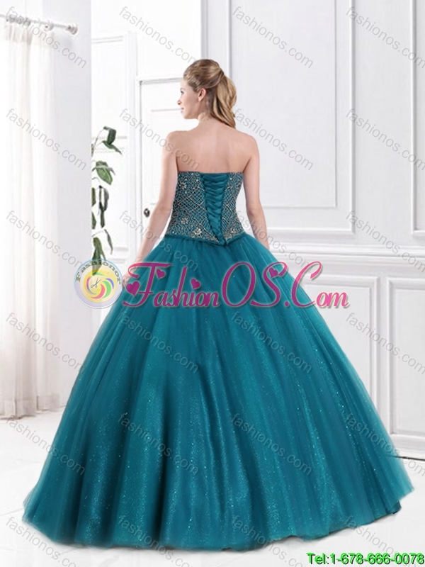 Latest 2016 Strapless Beaded Quinceanera Gowns in Tulle