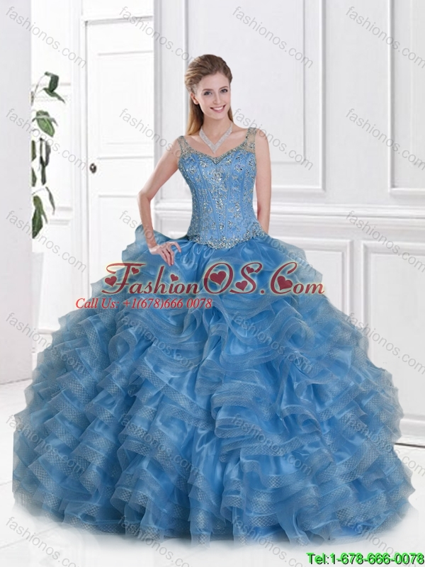 2016 Gorgeous Straps Quinceanera Dresses with Beading and Ruffles
