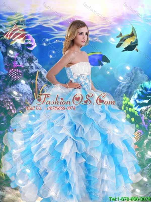 2016 Luxurious Strapless Quinceanera Dresses with Beading and Ruffles