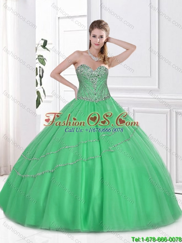 2016 New Style Ball Gown Tulle Sweet 16 Dresses with Beading