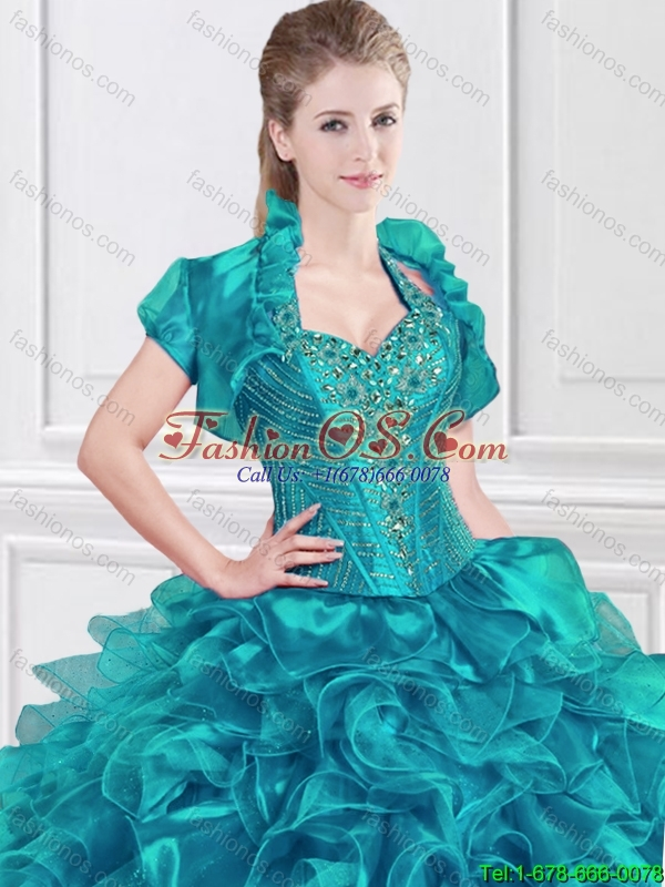 2016 New Style Beaded and Ruffles Sweet 16 Dresses with Halter Top
