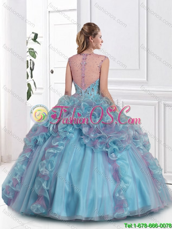2016 Popular Straps Multi Color Sweet 16 Dresses with Beading