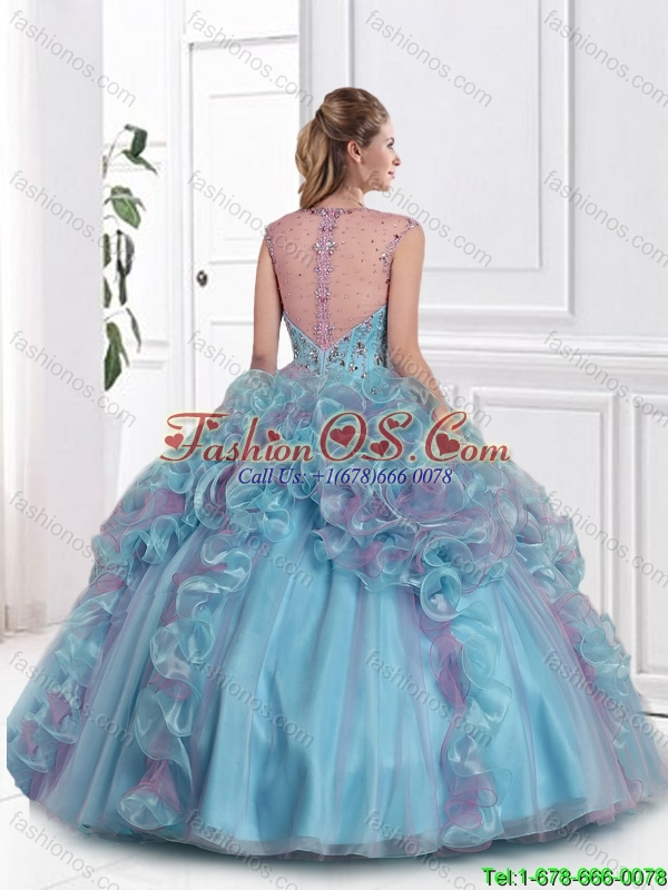 Beautiful Beaded Multi Color Sweet 16 Gowns with Straps in Multi Color