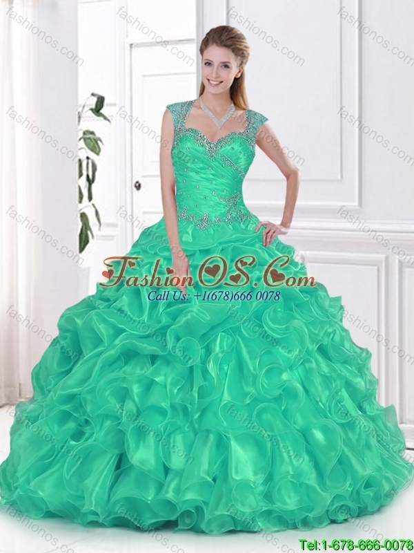 Fashionable Straps Beaded Quinceanera Dresses in Organza for 2016 Spring