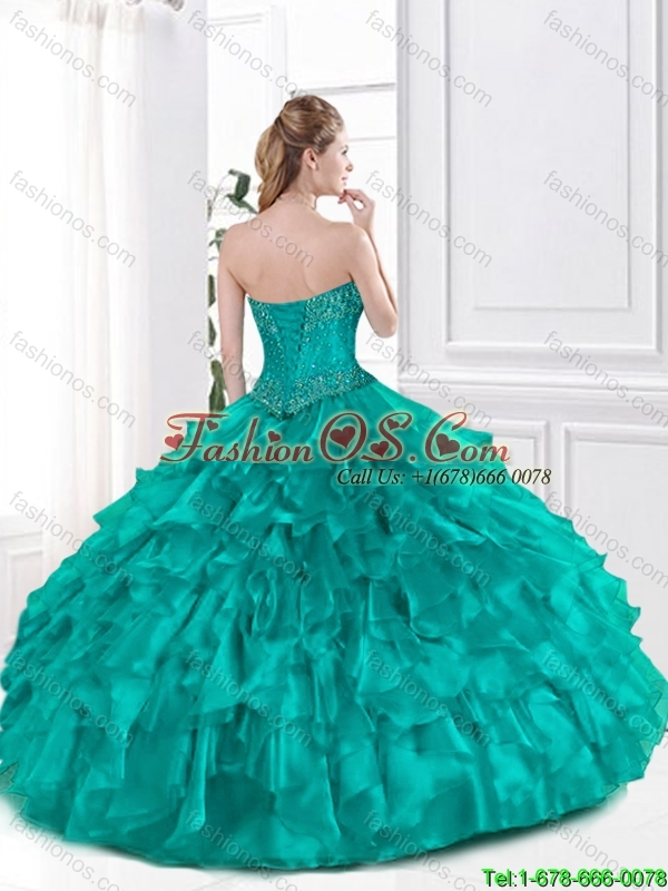 Perfect Beaded and Ruffles Sweet 16 Dresses in Turquoise
