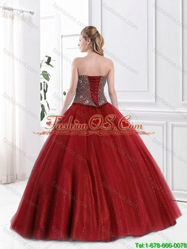 Popular Strapless Beaded Sweet 16 Gowns in Wine Red