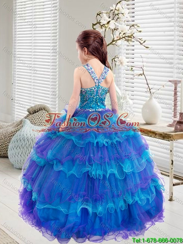 Comfortable Beaded and Ruffled Layers  Mini Quinceanera Dresses in Multi Color