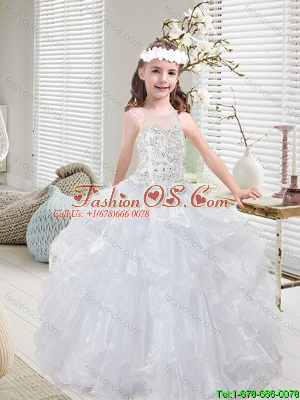 Latest White  Mini Quinceanera Dresses with Beading and Ruffles