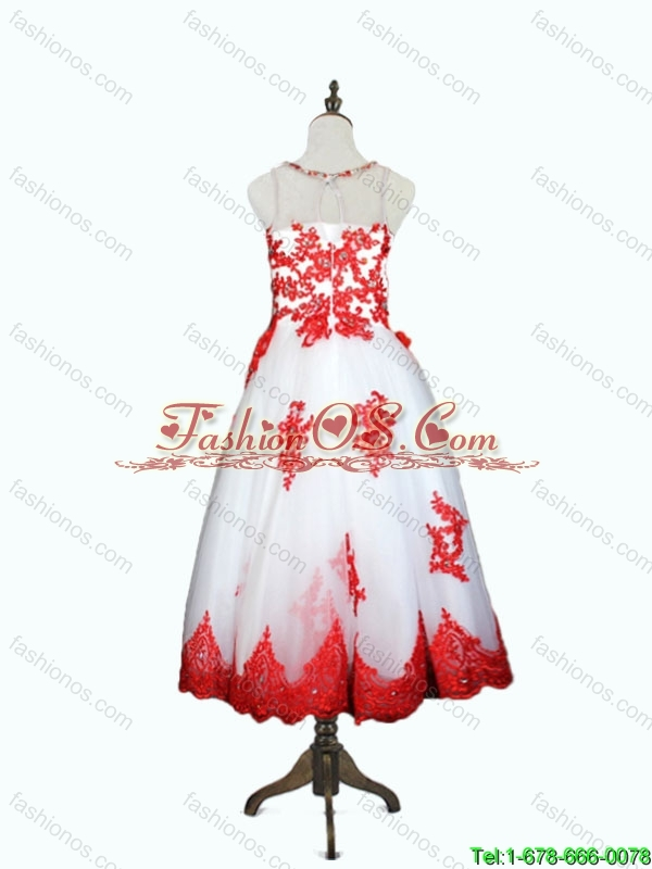 Lovely Beaded and Appliques Mini Quinceanera Dresses in White and Red for 2016