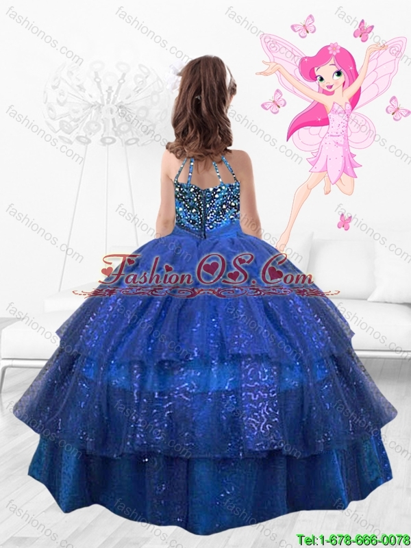 Popular Beaded Floor Length Multi Color Flower Mini Quinceanera  Dresses in Royal Blue