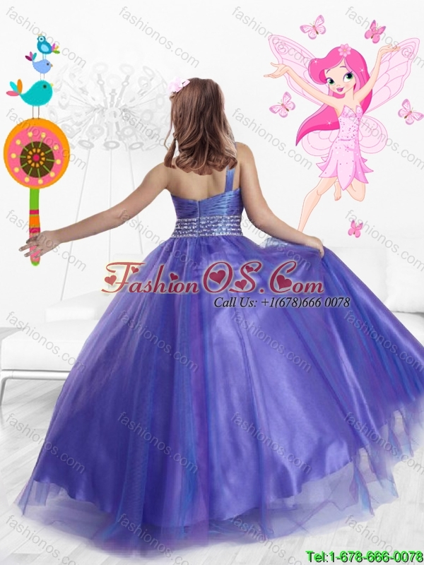Popular One Shoulder Beaded Mini Quinceanera  Dresses in Purple