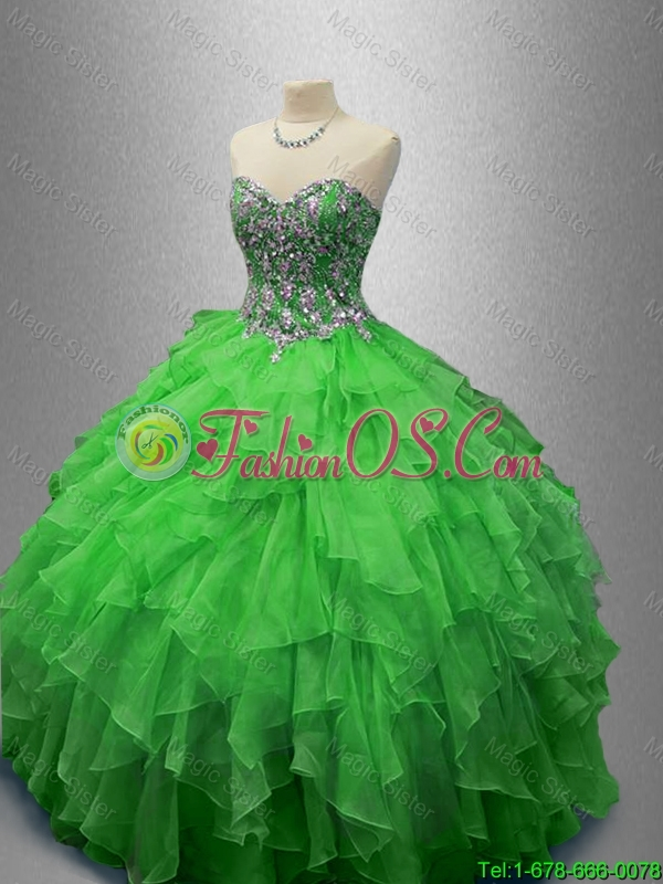 2016 Elegant Fashionable Beaded Sweetheart Quinceanera Dresses in Green