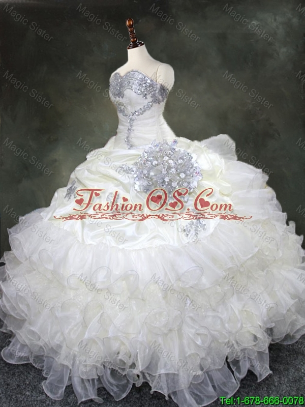 2016 New arrival Discount Ruffled Layers Quinceanera Gowns with Beading and Sequins