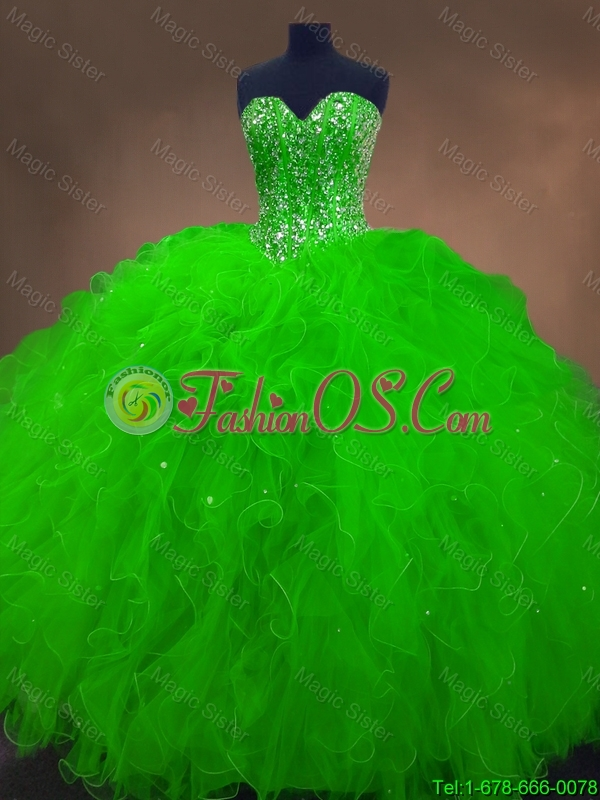 2016 New arrival Perfect Beaded Spring Green Sweet 16 Gowns with Ruffles
