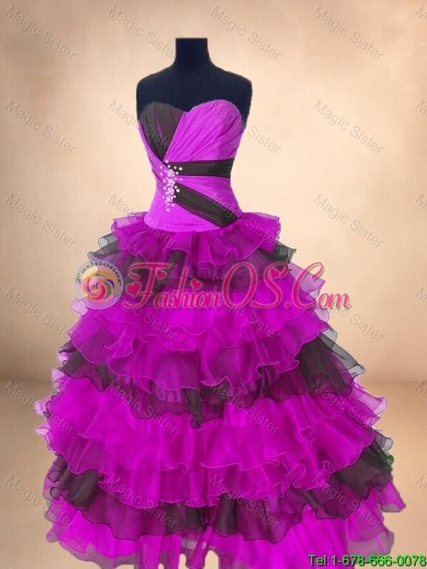 2016 Perfect Luxurious Ball Gown Floor Length Quinceanera Gowns in Multi Color