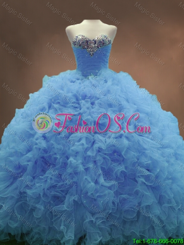 2016 Popular Elegant Sweetheart Ruffles and Beaded Quinceanera Gowns in Blue