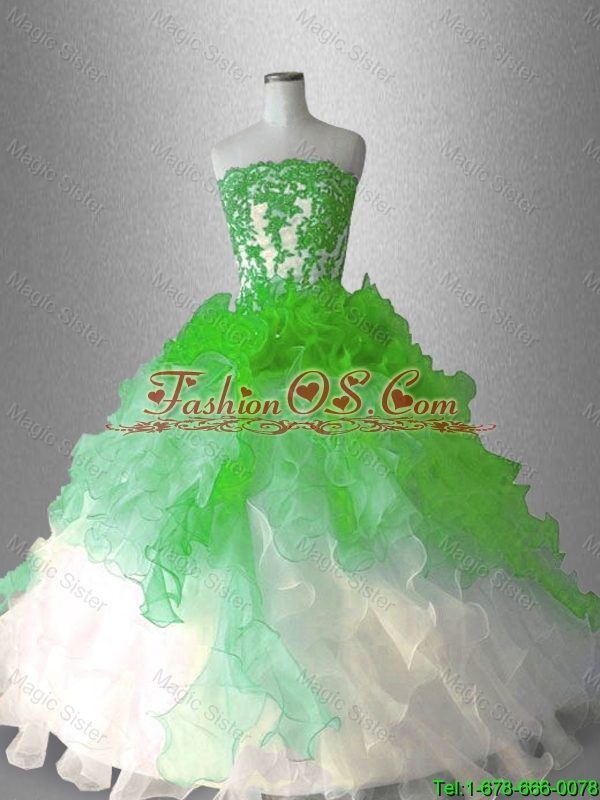 2016 Gorgeous Elegant Strapless Sweet 16 Dresses with Appliques and Ruffles
