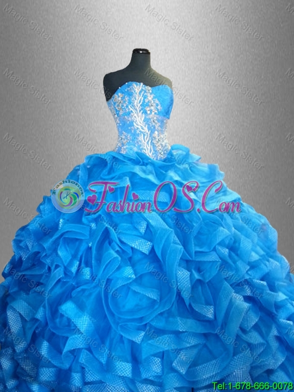 2016 New arrival  Romantic Sweetheart Quinceanera Dresses with Beading and Ruffles