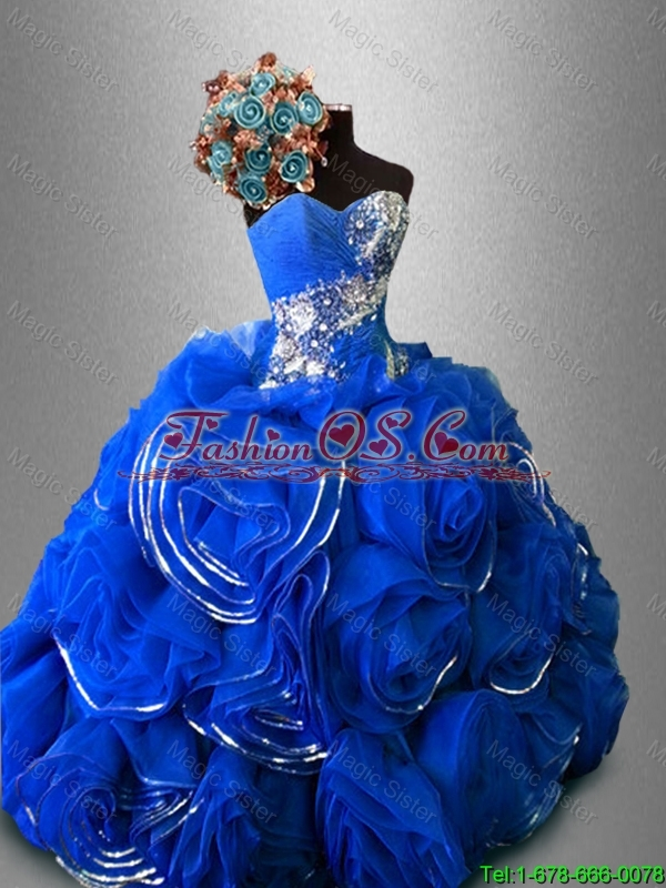 2016 New arrival Fashionable Rolling Flowers Sweet 16 Dresses with Beading