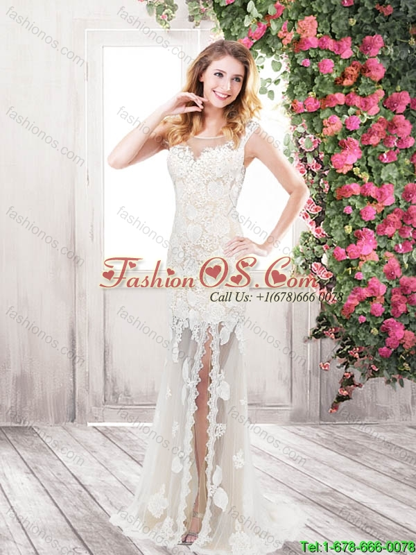 Beautiful Fashionable Cheap Column Beaded White Prom Dresses with Brush Train