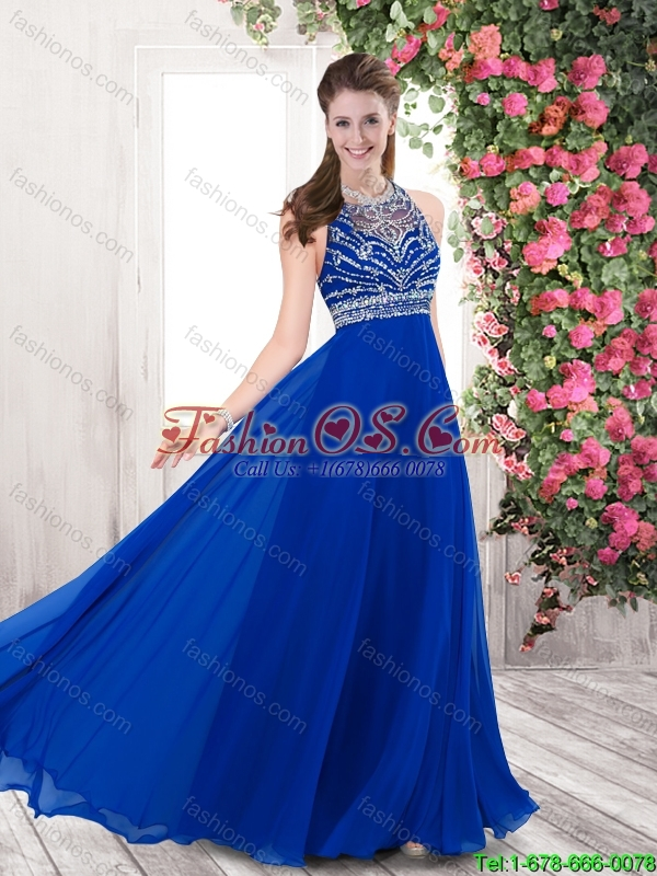 Best Selling Exclusive Empire Blue Prom Dresses with Brush Train