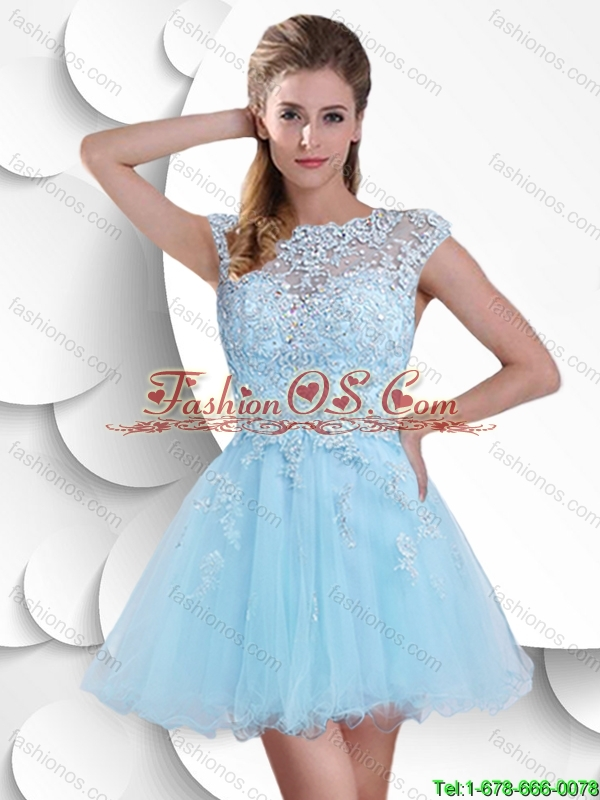 Best Selling Sweet Bateau 2016 Prom Gowns with Beading and Appliques