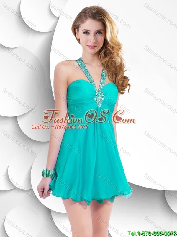 Cheap Lovely Popular Criss Cross Short Prom Dresses in Turquoise