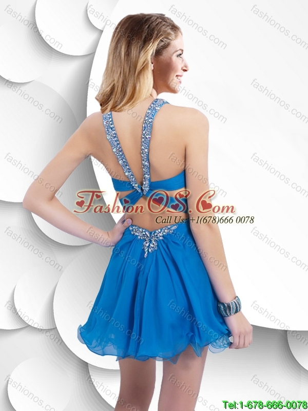 Cheap Lovely  Pretty Beaded Halter Top Short Prom Dresses with Criss Cross