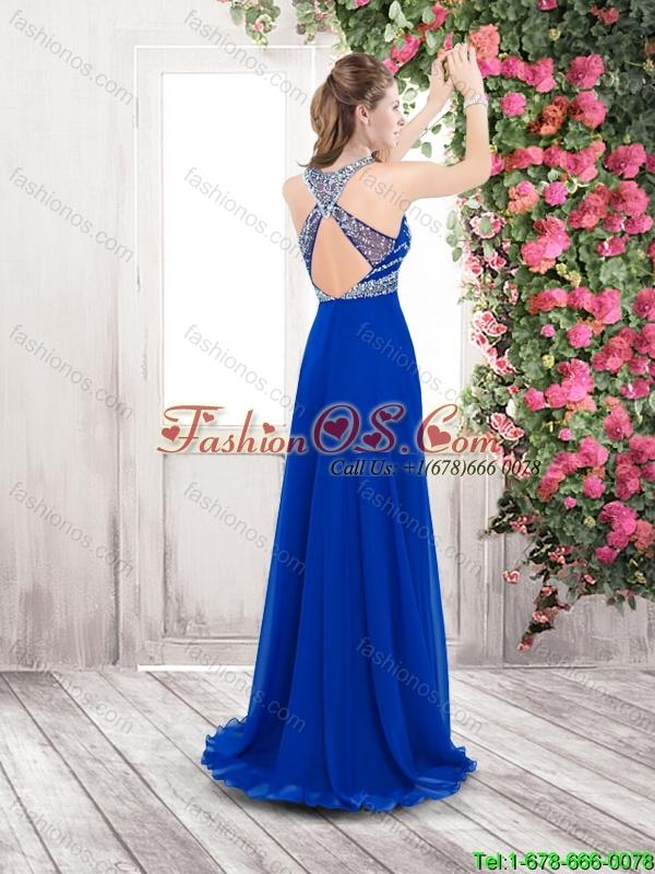Perfect Pretty Beaded Brush Train Popular 2016 Prom Dresses in Aqua Blue