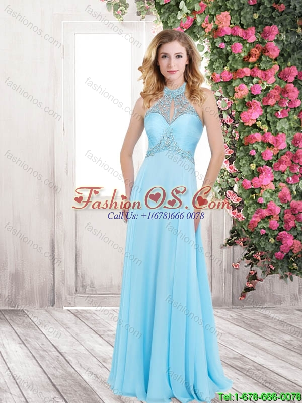 Perfect Pretty Wonderful Beading Baby Blue Long Prom Dresses for 2016