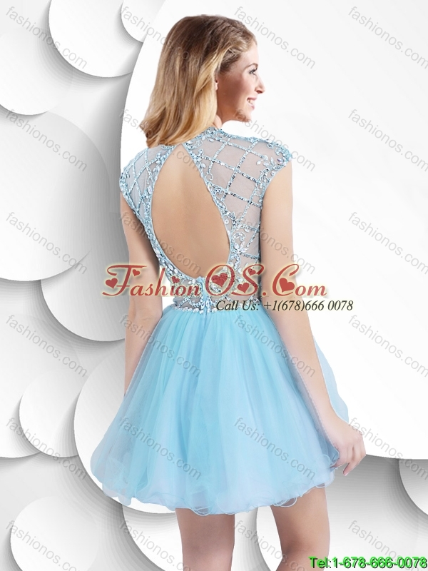 2016 Best Selling Pretty Cap Sleeves High Neck Short Prom Dresses with Beading