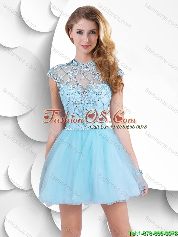 2016 Best Selling Pretty Cap Sleeves High Neck Short Prom Dresses ...