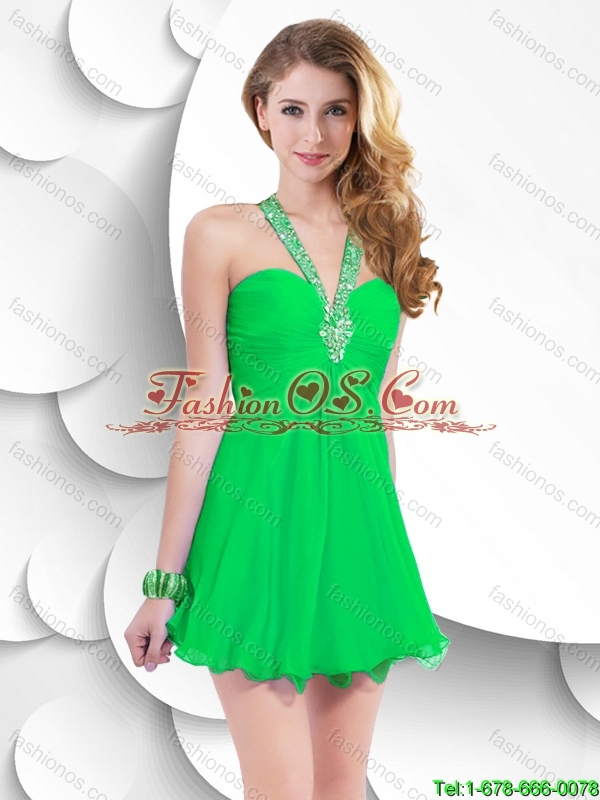 Beautiful Fashionable Fashionable Beaded Green Short Prom Gowns with Halter