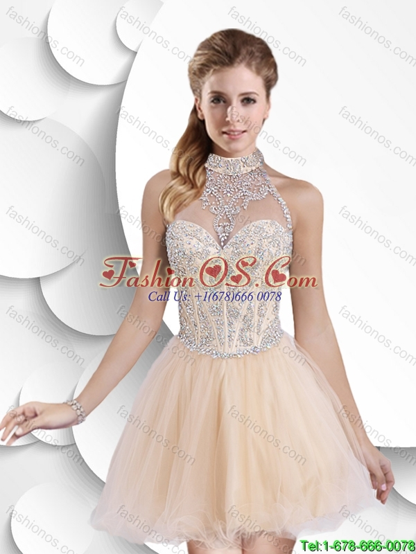 Gorgeous Exclusive Beautiful A Line Halter Top Prom Dresses with Beading for 2016