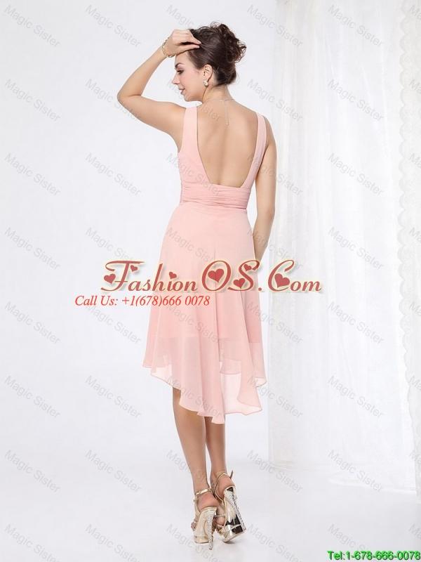 2016 Elegant V Neck Side Zipper Prom Dresses with Asymmetrical