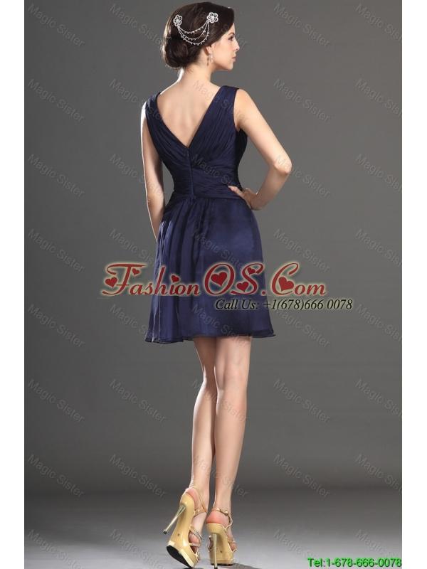 2016 Latest V Neck Short Navy Blue Prom Dresses with Beading