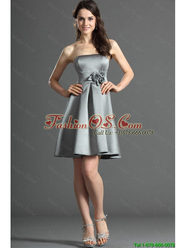 2015 The Super Hot Short Silver Prom Dress with Hand Made Flowers