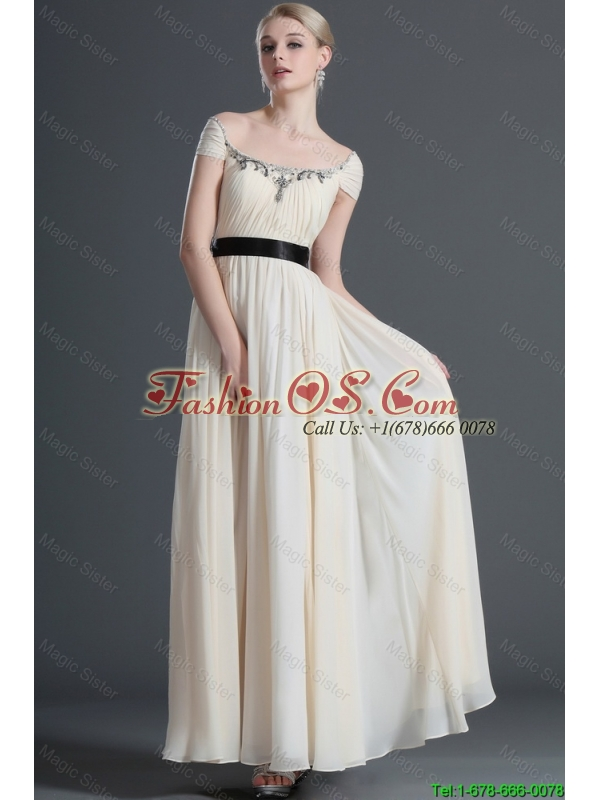 2016 Gorgeous Appliques and Belt Champagne Prom Dresses