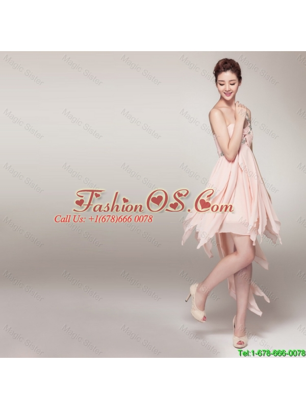 2016 New Arrival High Low Baby Pink Prom Dress with Appliques and Ruching