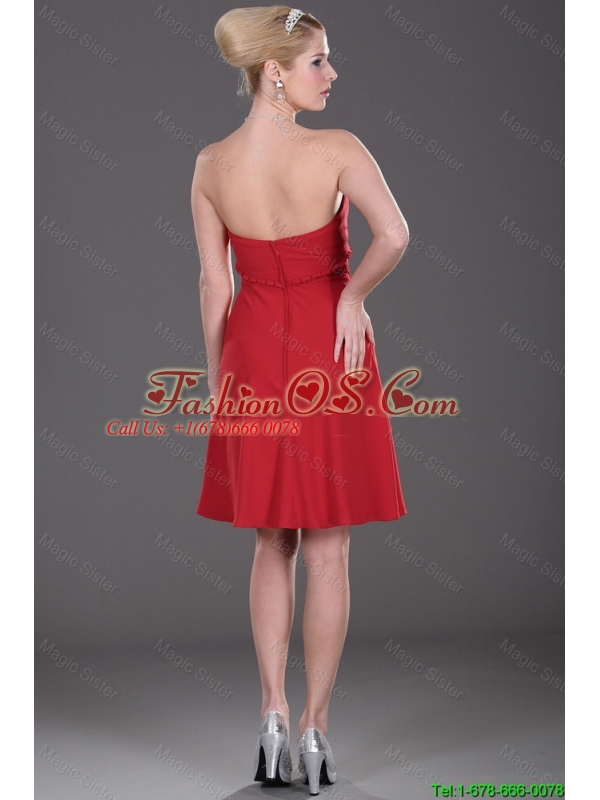 Cheap Mini Length Strapless Red Prom Dresses with Ruching